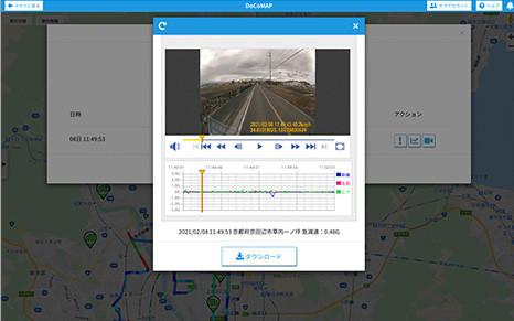 危険挙動検知時に、動画と音声がクラウドに送信され、リアルタイムに高画質動画を参照できる